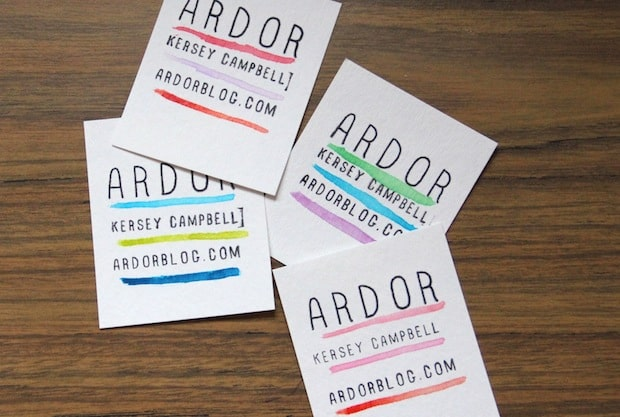 Watercolour paint business cards