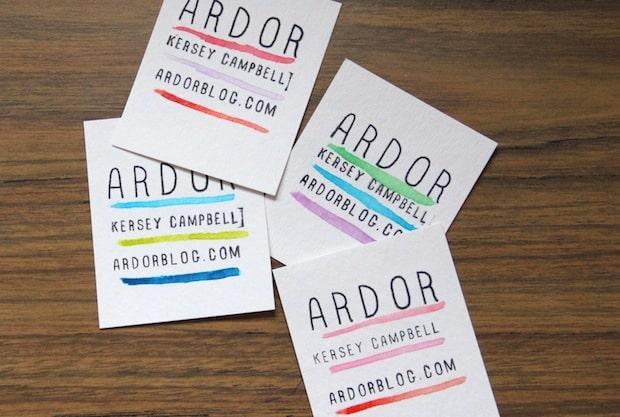 Watercolour paint business cards