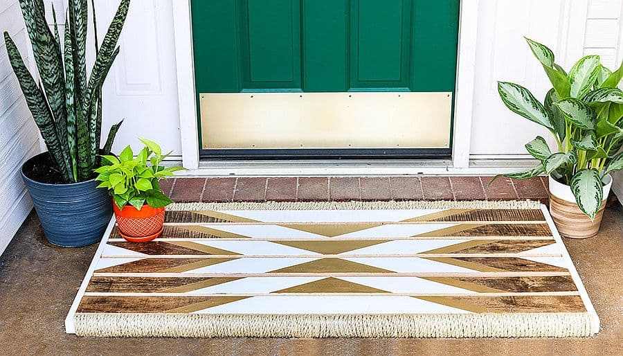 Wooden Doormat with tribal pattern