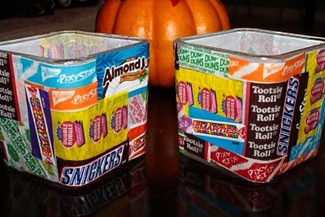 candy wrapper votives