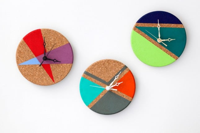 color blocks Timing it Just Right: 10 Delightful DIY Wall Clocks