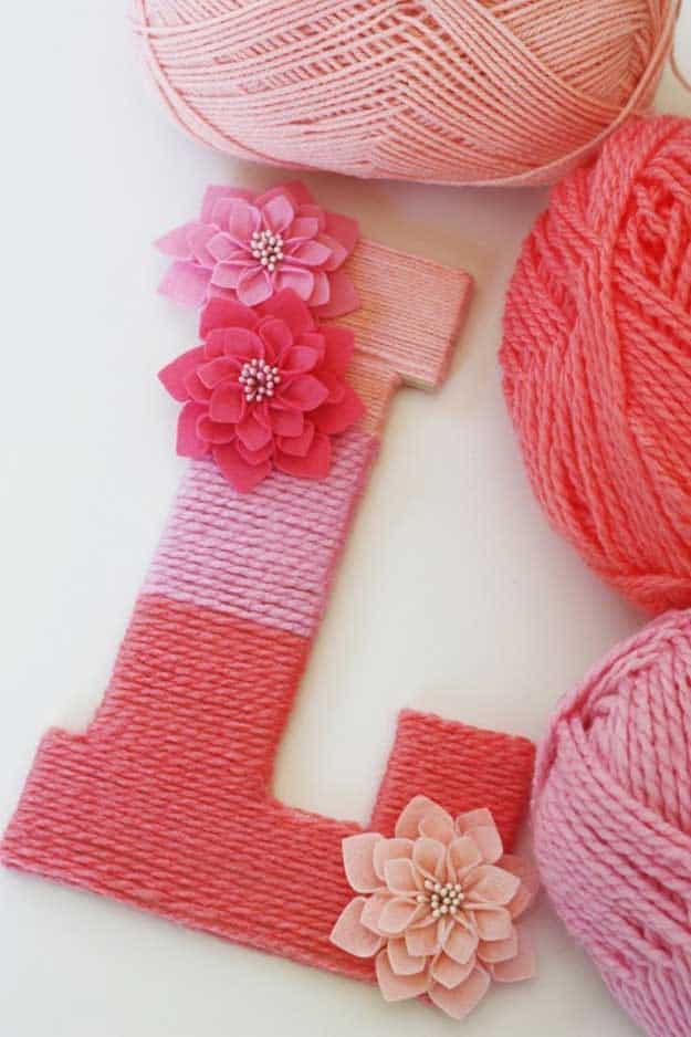 yarn wrapped wall monogram