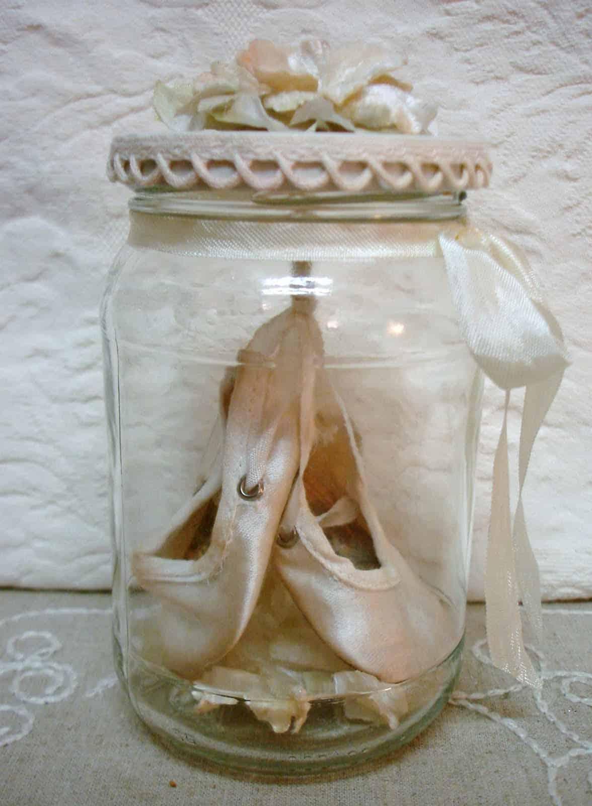 Ballet slippers in a pretty jar