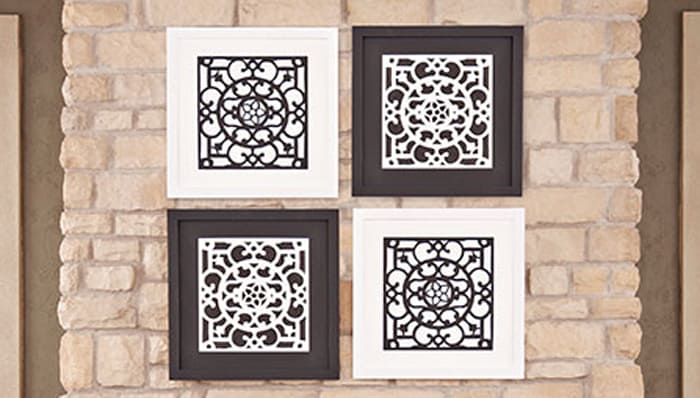 Black and white framed rubber doormat art