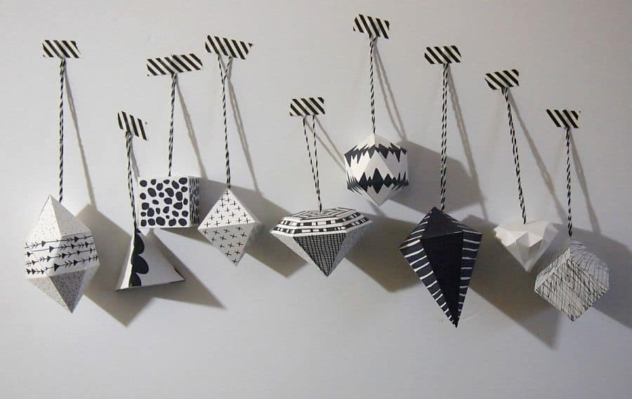 Black and white geo ornaments