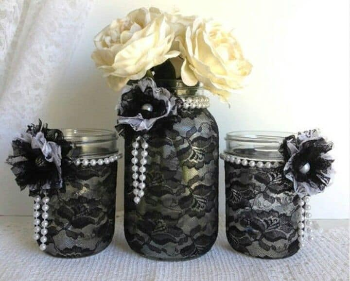 Black and white lace mason jars