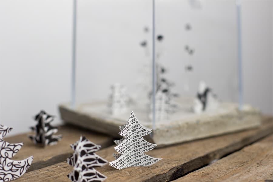 Black and white paper terrarium