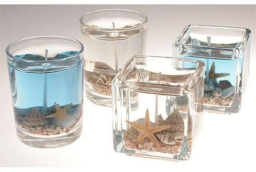 Blue water gel candles