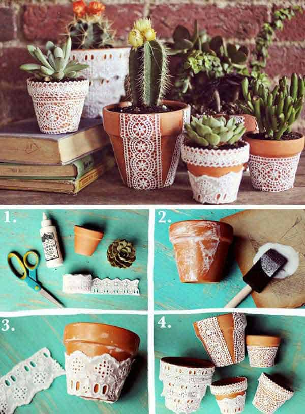 Ceramic and lace flower pots