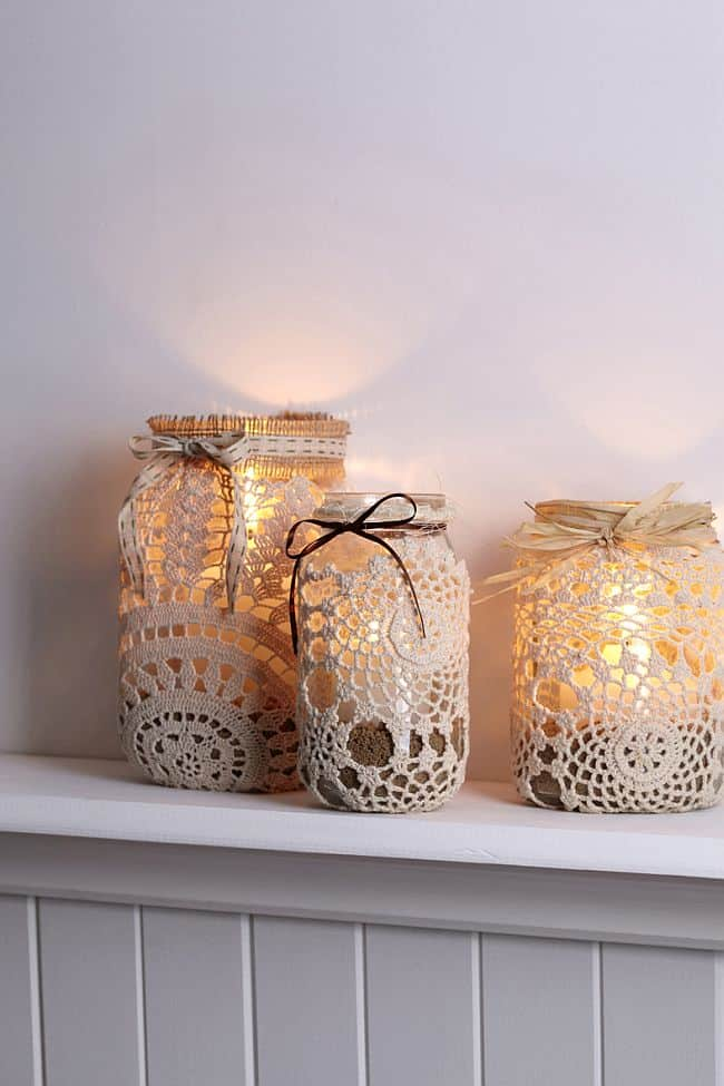 Chic lace mason jar candles