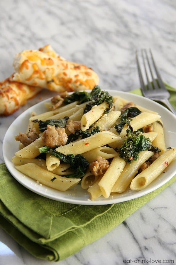 Chicken sausage and kale penne