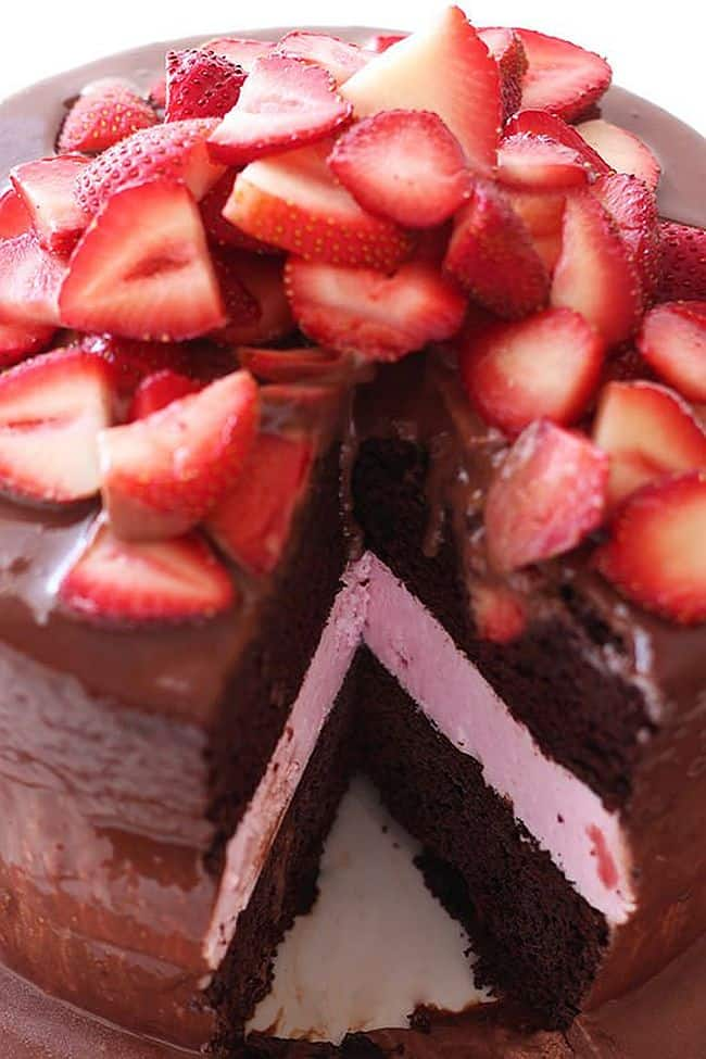 Chocolate Strawberry Ice Cream Cake