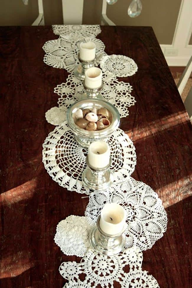 Classic Lace doily table runner