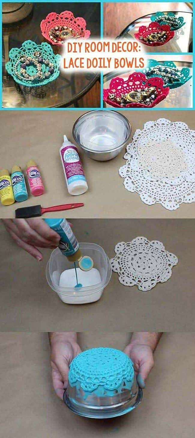 Colorful Lace doily bowls