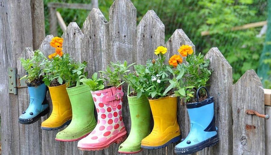 Colorful rubber boot planters