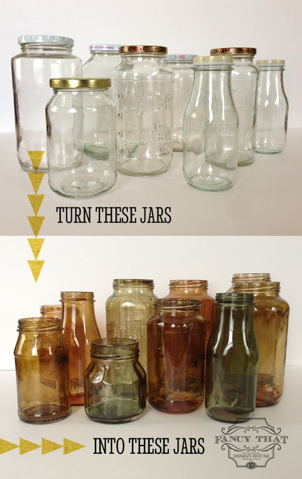 Colour tinted jars and bottles
