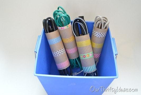 Cord organizing toilet rolls