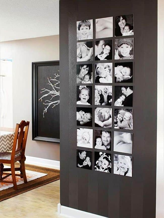 DIY Black and white photo wall collage
