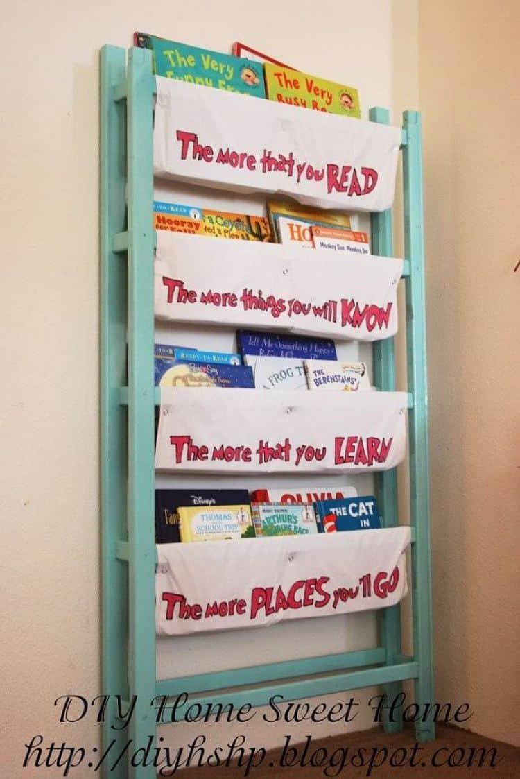 DIY Magazine and book rack crafted from old crib