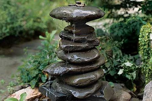 DIY Stacked rock fountain