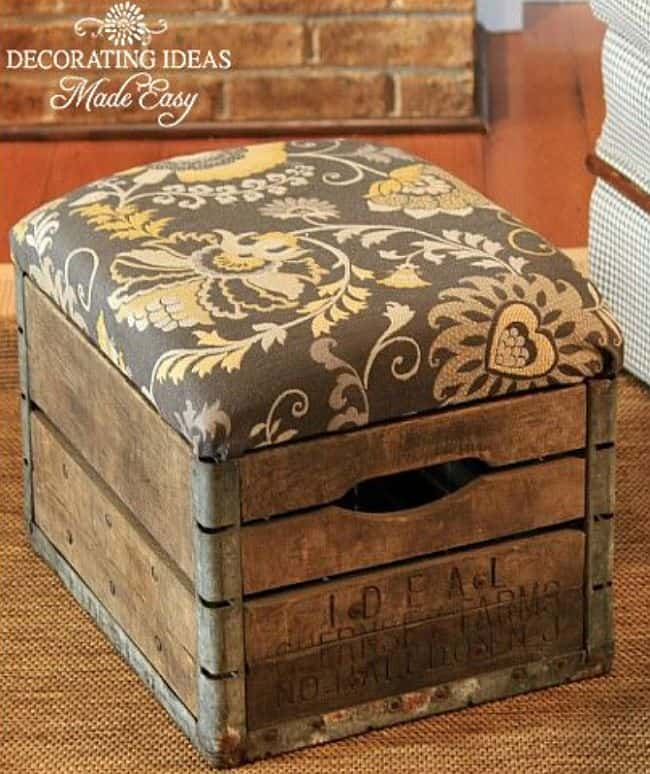 DIY Wooden crate ottoman