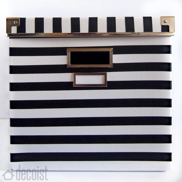 DIY black and white striped storage box