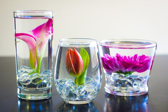 DIY submerged flowers