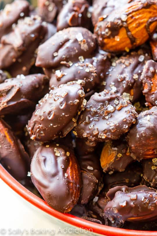 Dark chocolate covered sea salt almonds