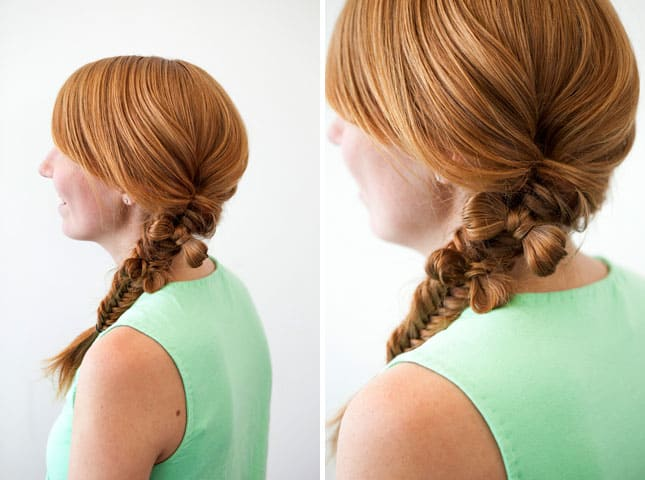 Fishtail braid with mini hair bows