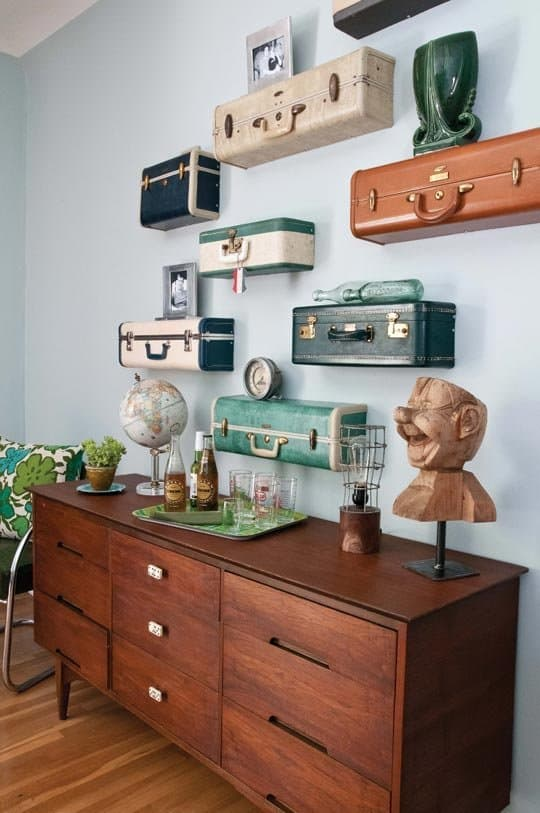 Flat vintage suitcase shelves