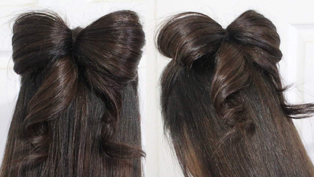 Hair bow with curled ends