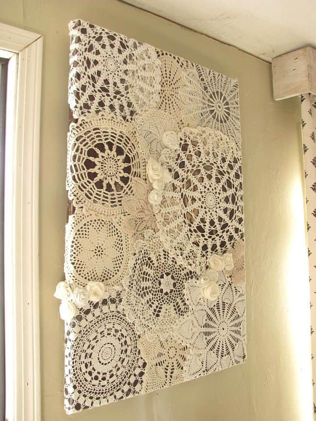 Homemade Lace doily canvas art