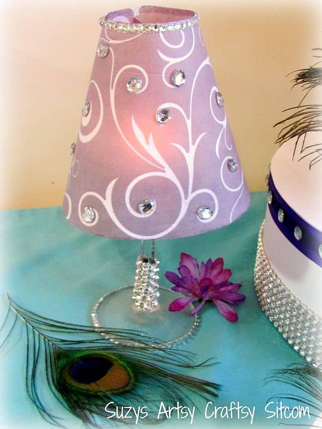 Homemade Purple stenciled tea light table lamp
