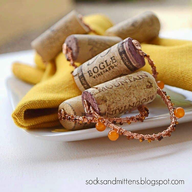 Homemade napkin rings from wine corks