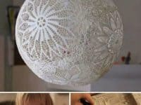 Lace doily hanging lamp 200x150 Delicate Beauty: Decor Ideas Involving Lace