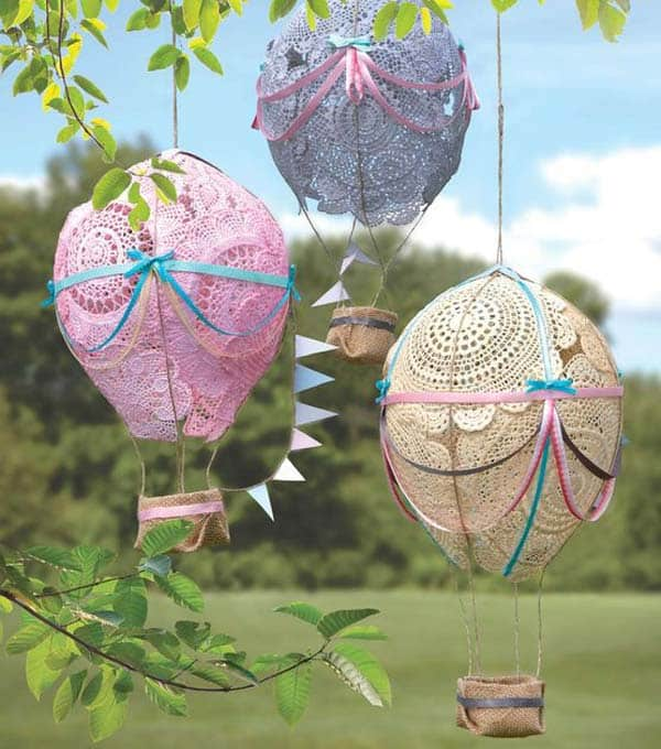 Lace doily hot air balloons