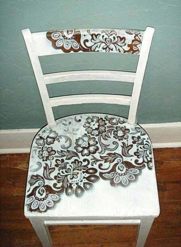 Lace motif wooden chair