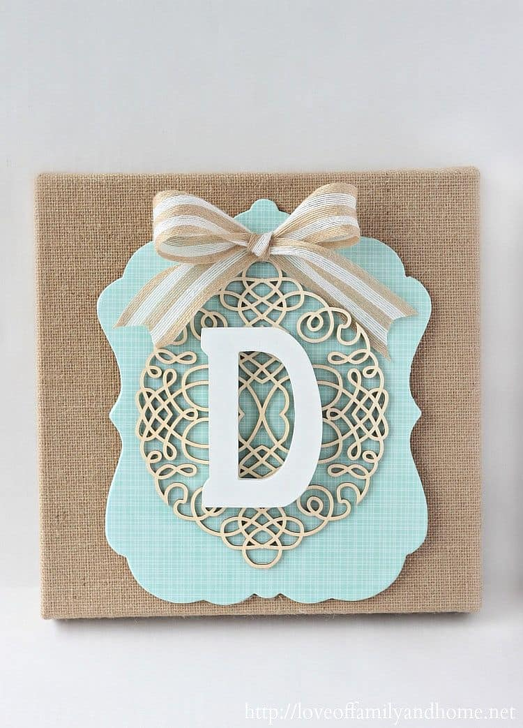 Layered burlap monogram