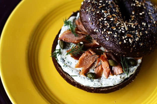Lemon-dill cream cheese and smoked salmon bagel