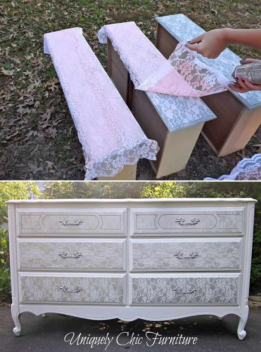 Lovely Lace stenciled dresser