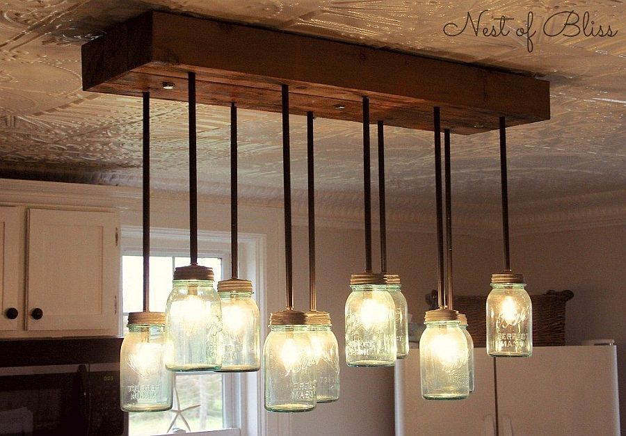Light up the room with these diy chandeliers view in gallery mason jar chandelier mozeypictures Image collections