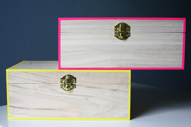 Neon edged keepsake boxes