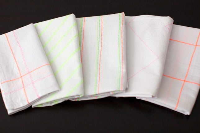 Neon patterend tea towels