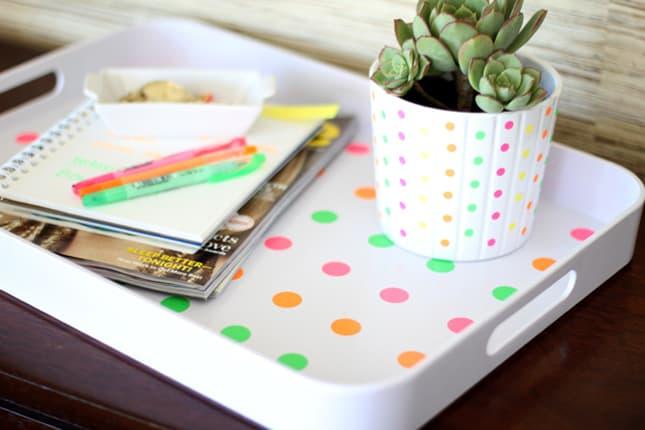 Neon polka dot tray