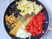 One pot spaghetti alla puttanesca with chickpeas and artichoke 200x150 15 Healthier Pasta Recipes That Still Taste Delicious