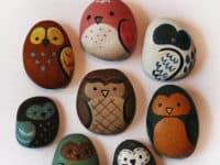 Owl rocks 200x150 15 Beautiful Rock Painting Ideas