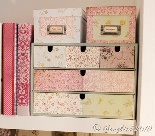Paper covered desk storage
