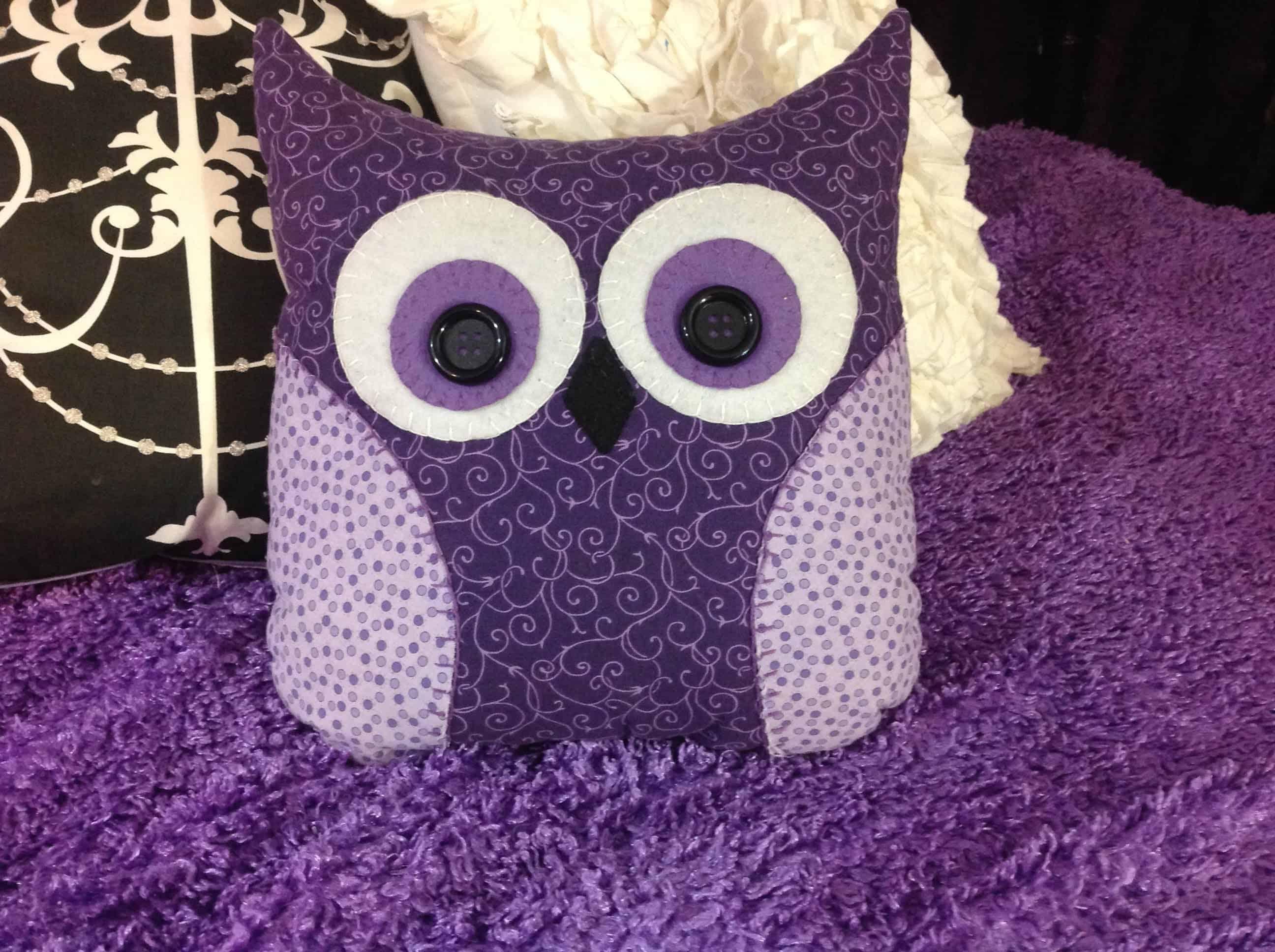 Purple DIY owl pillow