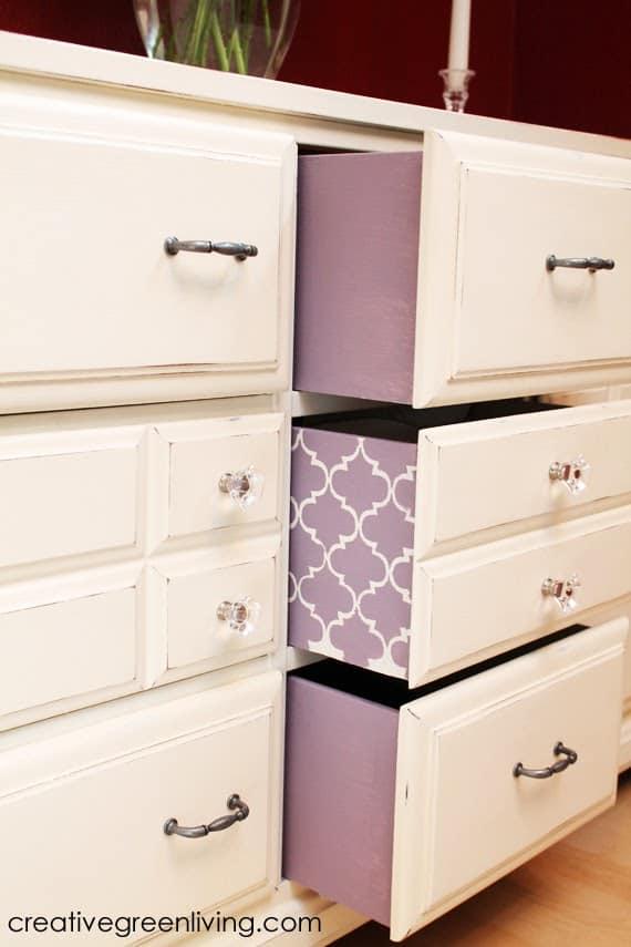 Purple stenciled dresser sideboards