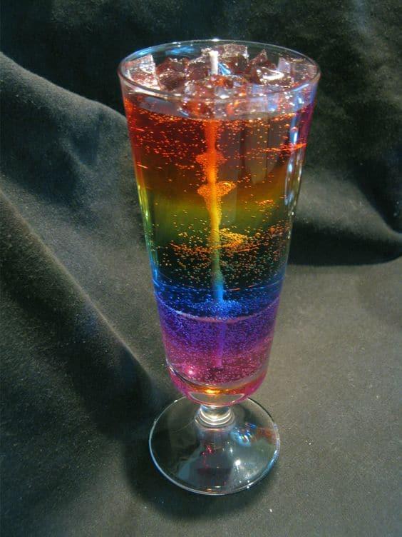 Rainbow gel candle